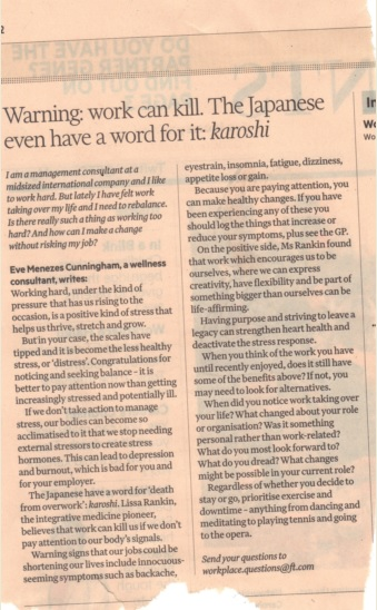 work can kill column for the Financial Times by Eve Menezes Cunningham