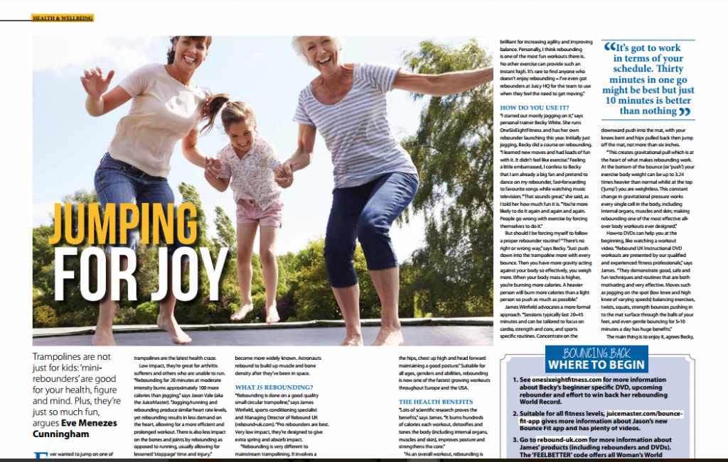 Jumping for Joy feature for WI Womens World magazine about trampolining