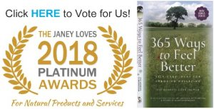 Eve Menezes Cunningham 365 Ways to Feel Better is up for a Janey Loves 2018 Platinum Award. Please vote here