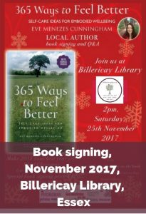 Eve Menezes Cunningham 365 Ways to Feel Better book signing at Billericay Library Essex