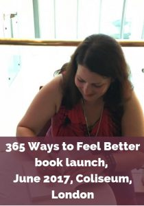 Eve Menezes Cunningham 365 Ways to Feel Better book launch at London Coliseum