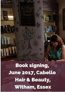 Eve Menezes Cunningham 365 Ways to Feel Better book signing Cabello Witham Essex
