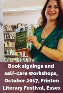 Eve Menezes Cunningham 365 Ways to Feel Better book signing and self care workshops Frinton Library Essex
