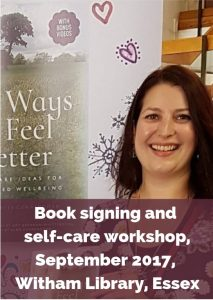 Eve Menezes Cunningham 365 Ways to Feel Better book signing and self care workshop Witham Library Essex