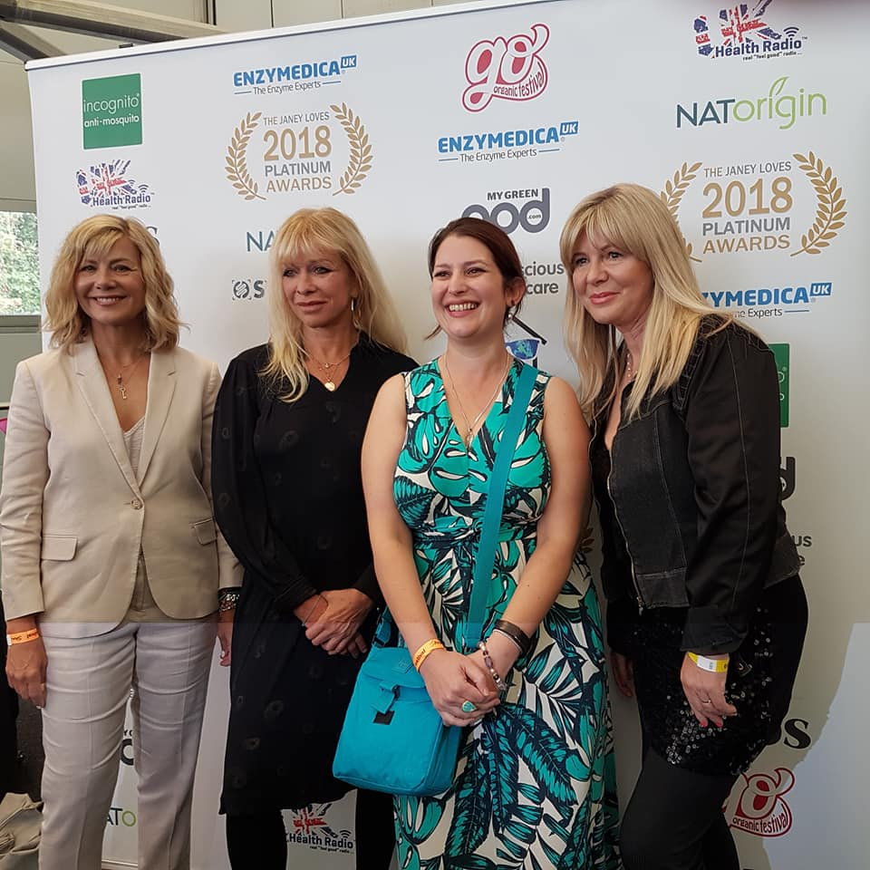 After winner announcements with Janey Lee Grace (right) and Jo Wood and Glynis Barber (left)