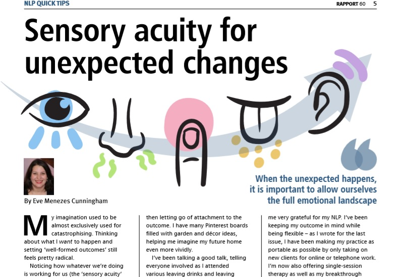 Sensory acuity for unexpected changes column in Rapport Eve Menezes Cunningham