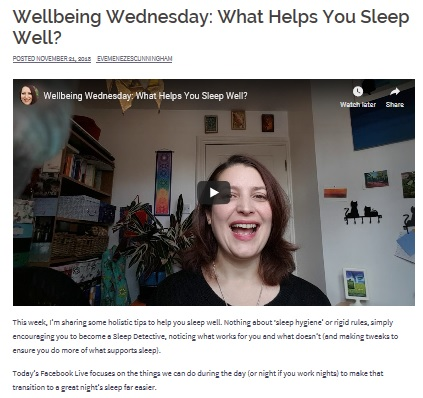 Wellbeing Wednesday what helps you sleep well blog and fb q&a