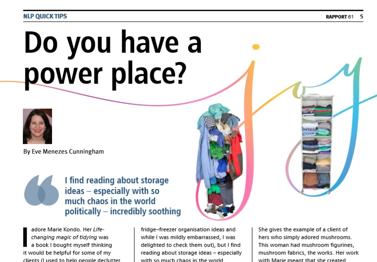 Eve Menezes Cunningham Rapport NLP column on Power Place