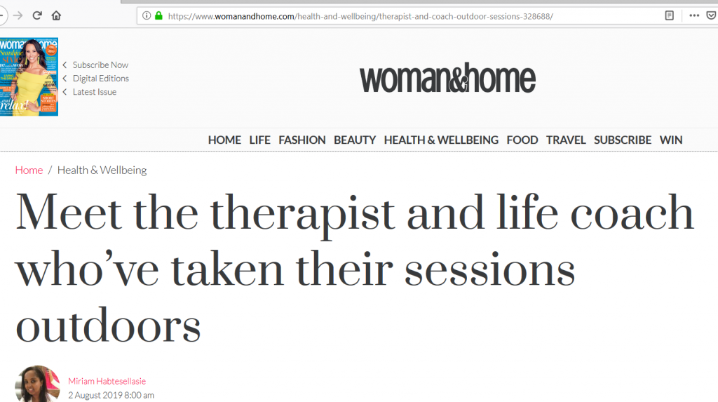 Feel Better Every Day with Eve Menezes Cunningham outdoor therapy in Westport featured in Woman & Home magazine