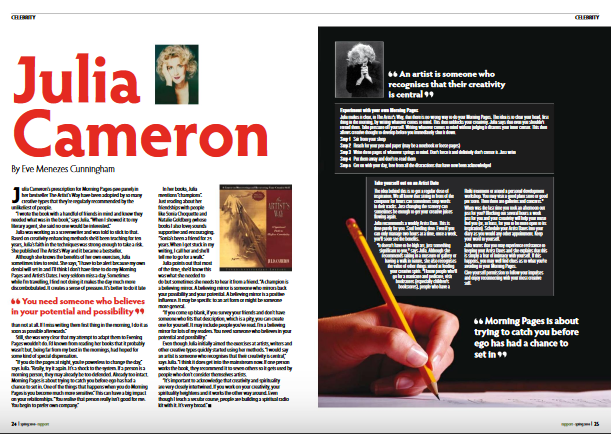 Read Julia Cameron interview by Eve Menezes Cunningham in Rapport magazine