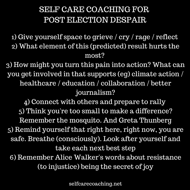 self care coaching for post election despair