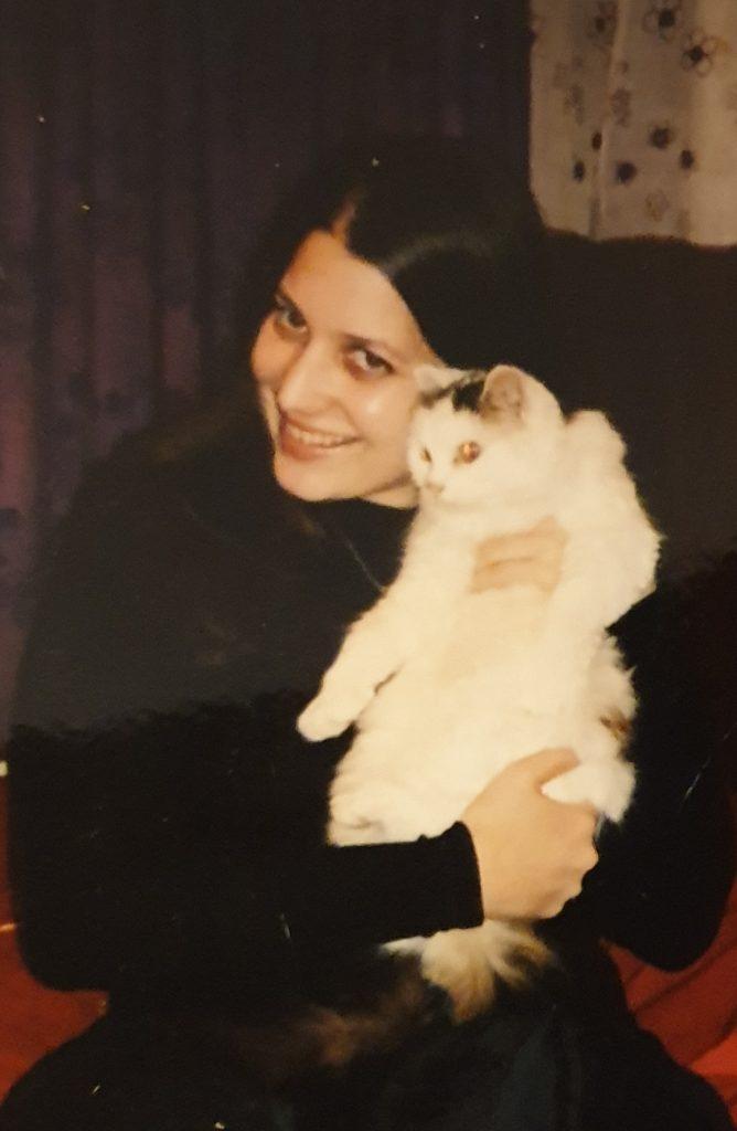 Eve Menezes Cunningham with Lou Lou cat