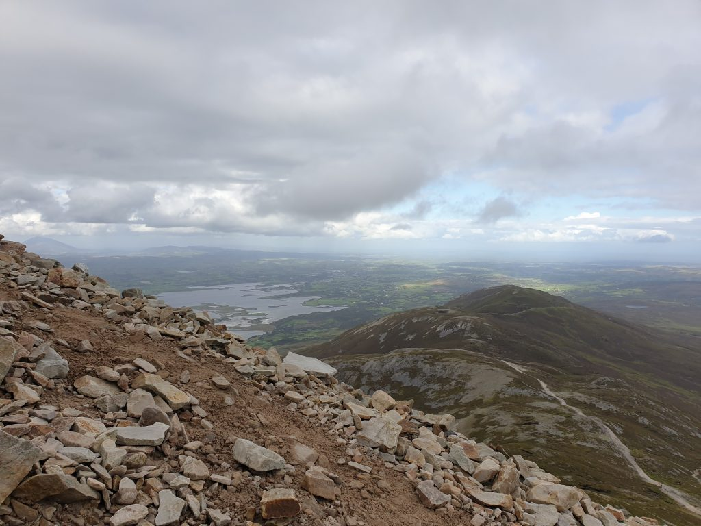 rocky view of Clew Bay from the Reek (aka Croagh Patrick mountain) in Ireland