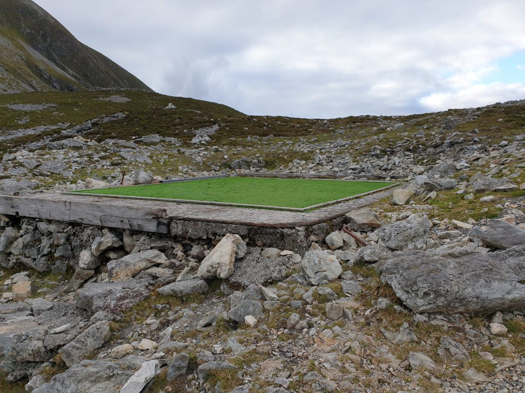 landmark aka green square on the Reek (aka Croagh Patrick mountain) in Ireland