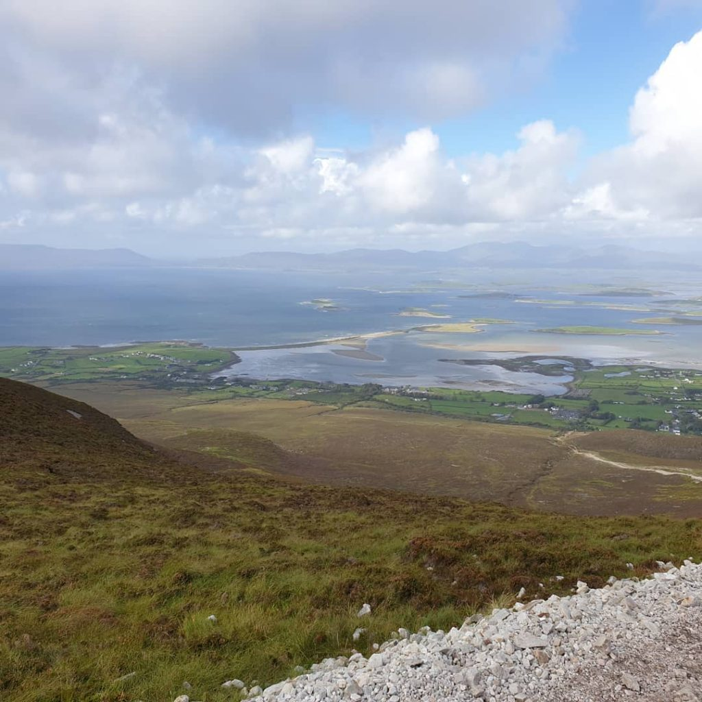 view of Clew Bay from the Reek (aka Croagh Patrick mountain) in Ireland