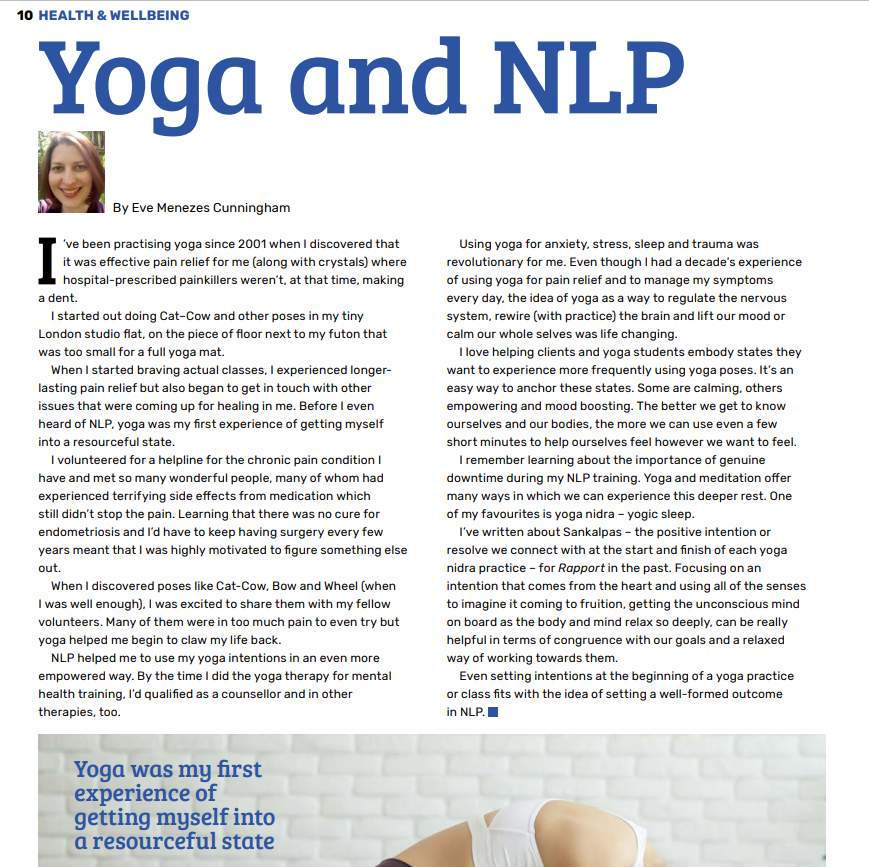Yoga and NLP feature by Eve Menezes Cunningham