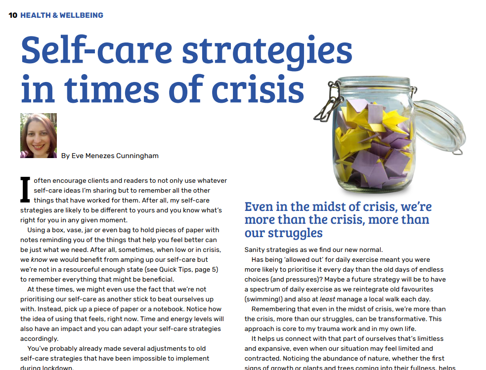 self care strategies in times of crisis Rapport Summer 2020