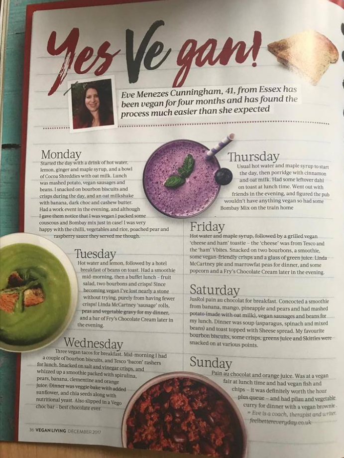 Eve Menezes Cunningham vegan food diary in Vegan Living magazine December 2017