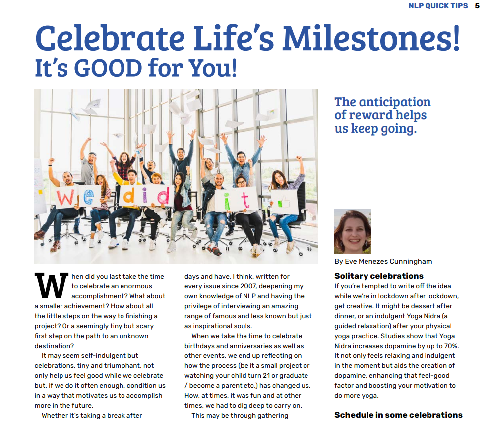 Resilience building feature about building resilience and celebrating milestones by Eve Menezes Cunningham