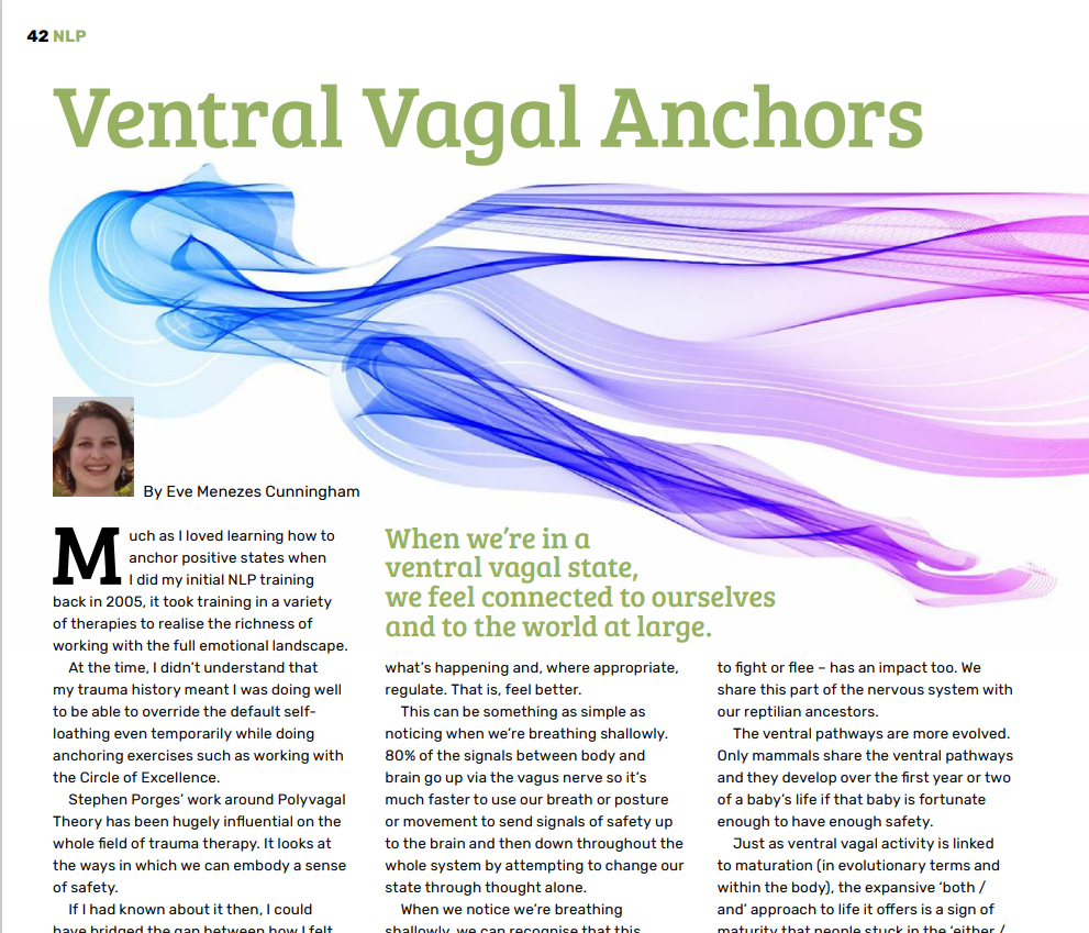 Eve Menezes Cunningham feature for Rapport about Ventral Vagal Anchors and trauma recovery as well as general wellbeing